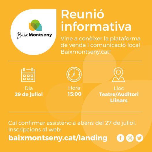 Reunió Informativa dimecres 29 de juliol a Llinars del Vallès